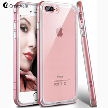 Buy CreatValu PC Frame Bumper Clear TPU Back Case iPhone 7 8 Plus Clear Case Hybrid Defender Slim Soft Cover iPhone 6 6s X for $3.99 in AliExpress store