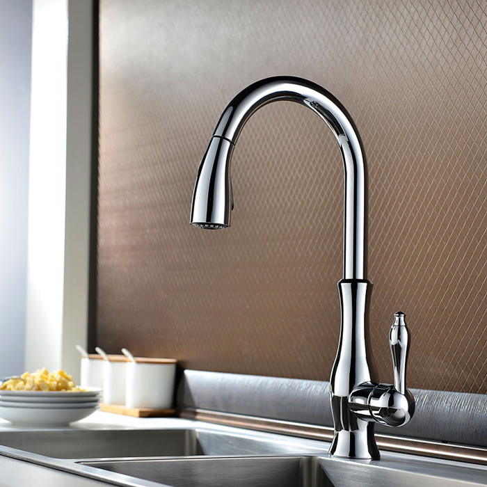 GOLD PULL OUT KITCHEN FAUCET (7)