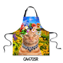 2016 New 3D Printing Apron Wearing a Flower Cats Printing Cotton Sleeveless Antifouling Halter Neck Apron Restaur Kitchen -P014