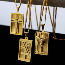 Mens gold color Crucifix Cross Jesus GOLD Tone SQUARE Dog Tag Medal Necklace w/3mm 24inch Cuban Chain Hiphop Necklace(China)
