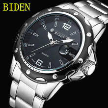BIDEN Fashion Casual Quartz Watch Men Complete Calendar Steel Stainless business Men's Watches Luxury Gift BD-0012 with box