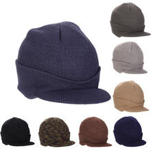 2017 New Fashion Unisex Peaked Army Visors Hat Warm Wooly Winter Men Women Cadet Ski Knitted Wool Cap -MX8(China)