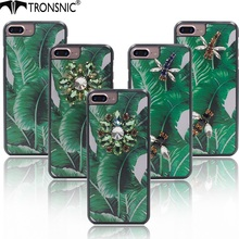 Tronsnic Luxury Phone Case for iPhone 6 6s plus 7 plus  Banana Leaf  Green Diamond Rhinestone Tropical Blue Dragonfly Hard Cover