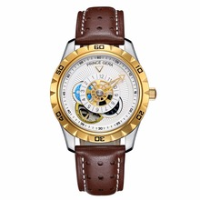 PRINCE GERA Men Automatic Mechanical Waterproof Fashion Leather Watch Skeleton Tourbillon Moon Phase Unique Leather Straps watch(China)