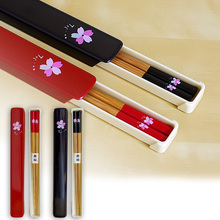 1 Pair of Portable Cherry Blossoms Pattern Japanese Chopsticks Chinese Tableware Chop Sticks with Storage Box Tableware Set