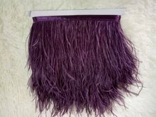 Wholesale 10Yards/lot from Factory Strip Cheap Purple red Ostrich Feather Trim 10-15cm height Ostrich feather fringes 014008007(China)