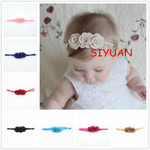 14pcs/lot Stretchy Thin Headband with Triple Burlap Fabric Flowers Newborn girl Chic Headband Headwear Hair Accessories FDA237