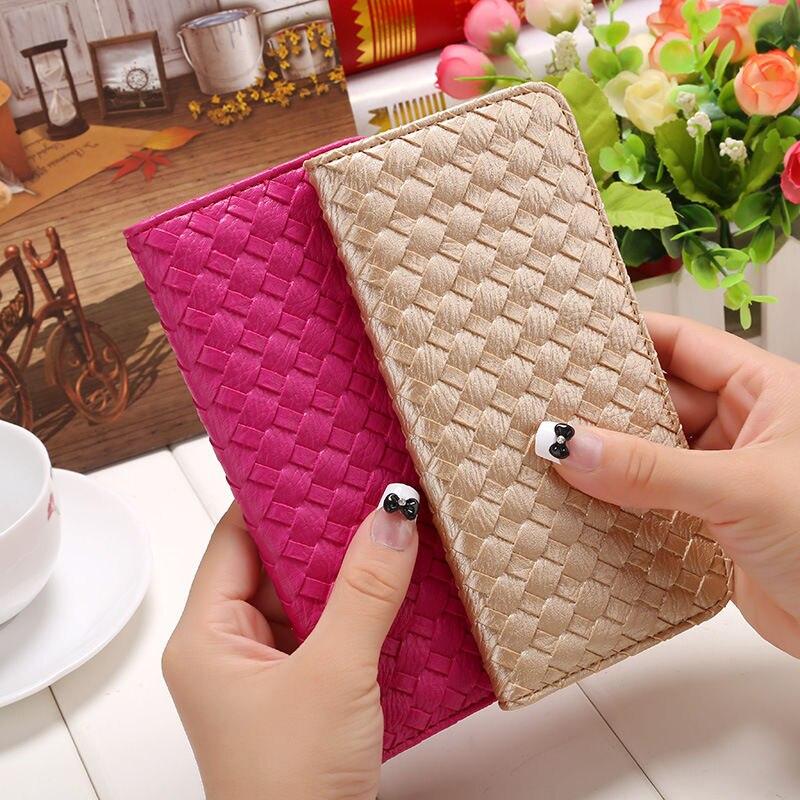 Lady Women PU Long Card Purse Handbag Clutch Wallet Wallet Card Pack Women s Long Paragraph Woven Lady lovely Coin Purse<br><br>Aliexpress