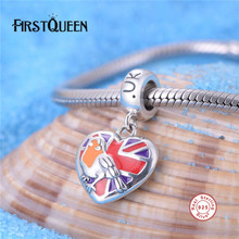 FirstQueen Pure 925 Sterling Silver Heart Bead Enamel UK Flag With National Bird Fit Original Bracelet DIY Patriotic Jewelry(China)