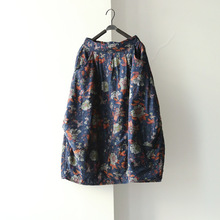 Women New Winter Elastic Pockets Skirts Flower Print Butterfly loose Casual Chinese style Skirts Floral(China)