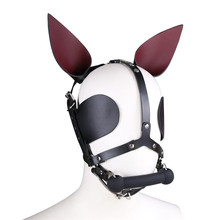 Buy New Leather Dog Bone Bdsm Mask Bondage Hood Cosplay Mask Slave Adult Games Couples Fetish Sex Products Flirting Toys