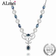 Almei Girls 0.5ct Sapphire Birthstone Long Necklaces Solid Silver 925 Engagement Zircon Jewelry for Women with Box 40% FN059(China)