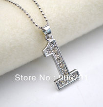 "10pcs a lot rhodium plating with Crystal number ""1"" Digital pendant necklaces (A001)(China)"