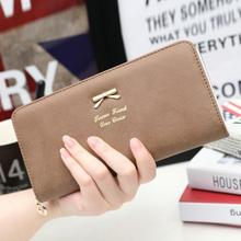 Hot Fashion Novelty Women Clutch Long Bow Purse Wallet Card Holder Handbag Bag PU Leather Polyester Material 2017 New(China)