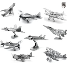 The Fighter Airplanes style 3D DIY Laser cutting Three-dimensional puzzle metalic spacecraft jigsaw High quality Plane Toys gift