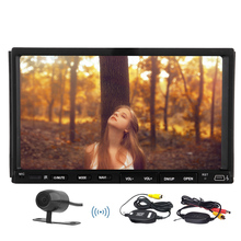 SD Video MP3 BT PC Car Stereo HeadUnit Remote Control Movie FM AM Automotive Double Din Radio Car DVD +Wireless Camera