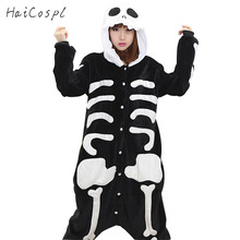 Skeleton Pajama Onesie Adult Women Cosplay Costume Flannel Warm Soft Black White Night Sleepwear Halloween Party Female Fancy