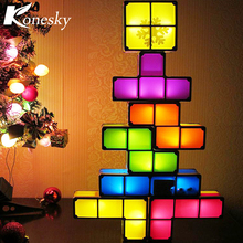 DIY Tetris Constructible Night Light Desk Lamp Creative Constructible Retro Game Style Three-dimensional Stackable LED Light(China)