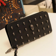 Fashion PU Leather Skull Multifunction Women Change Long Purse Fashion Ladies Purse Wallets PA640805