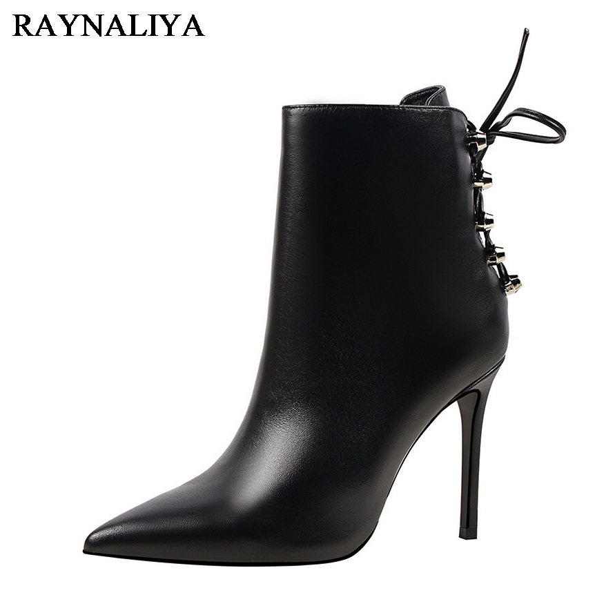 Pu Leather Ankle Boots Black New Pointed Toe Zipper Female Sexy Thin High Heel Women Cross Straps Decoration Shoes DS-A0138<br>