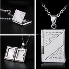 Women Men Silver Book Box Photo Locket Pendant Necklace NEW Punk Wish Chain Necklace Party Jewelry Wholesale Cheap