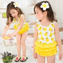 Yellow duck bikini one piece swimwear Cute One-piece push up swimsuit With Swimming Cap For baby children