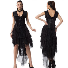 Black Witch Dress Fashion Women's Halloween Carnival Cosplay Party Costume Ghost Bride Fancy Dress