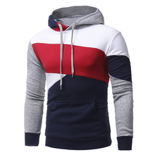 2017 Men's Sweatshirt & Hoodies Hip Hop Hoodies Male Brand Hoodies Color Striped Patchwork Men Slim Fit Men pullover Hoodie W117(China)