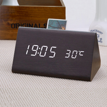Wooden Triangle Classic Sound Acoustic Control Car Electronic Thermometer Watch Time Temperature Led Clock(China)