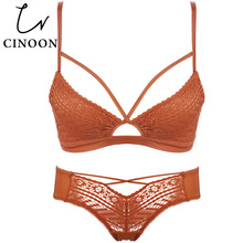 Buy CINOON Lace Lingerie Hollow Sexy Underwear Fashion Bra Set Deep V-neck Women's Lingerie Sets Push brassier Panties