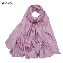 vancol2017summer new arrival women thick long linen colorful silk scarf ladies shawl Shiny beach sun shade luxury pashmina scarf(China)