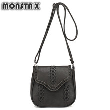 MONSTA X Vintage Hollow Out Women Messenger Bag Fashion Knitting Shoulder Bag Lady Handbags Portable PU Leather Crossbody Bags(China)