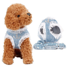 Lace Printing Jeans Vest Harness Leash Set For Dogs Thorocodorsal Type Pet Leash Bowknot