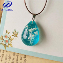 Beautiful Blue Through The Night Sky Full Of Dried Flowers Crystal Handmade Jewelry Pendant Necklace    D27