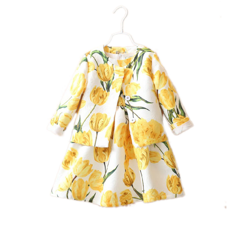 girl clothes set  2017 baby girl clothes sets top single breasted floral printed autumn girl clothes +princess dress 2pcs <br><br>Aliexpress
