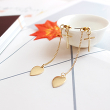 Free shipping fashion ladies jewelry cross heart peach heart pendant girls earrings popular girls accessories wholesale
