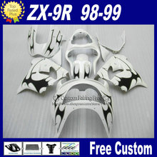 Clean white black custom fairing for Kawasaki Ninja fairings zx9r 98 99 ABS plastic ZX 9R 1998 1999 bodyworks +7Gifts