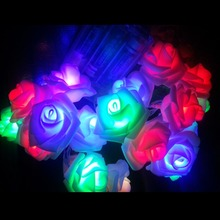 10m Battery Powered 80 LED Rose Flower Wedding Valentie Day Garden Birthday Event Party Christmas Decoration String Fairy Light(China)