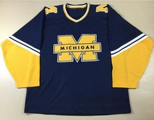 Vintage Starter Michigan Wolverines Hockey Jersey Embroidery Stitched Customize any number and name Jerseys(China)