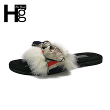 HEE GRAND New Autumn Fuzzy Fur Slides Shoes Home Soft Insole Slippers Flat Women Black Khaki Cute Bowtie Women's Shoes XWT937(China)