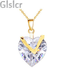 my only heart necklace yellow gold Zircon float heart chocker Pendant chain Necklace Fashion jewelry women girl couple 45456(China)
