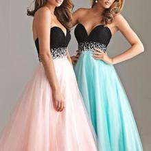 NEW Women O-Neck Strapless Off Shoulder Sweet Ball Gown Pink Organza Evening Party Long Dress Plus Size