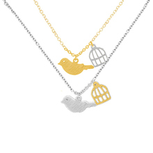 Unique Beautiful Flying Bird Cage Birdcage Chain Pendant Necklace Stainless Steel Perfect gift Love Bird Canary(China)