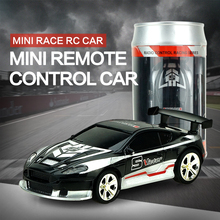Hot Sale Coke Cans Mini Sports Racing Car Wireless 8-12M Remote Control Toys RC Car With Light Children's indoor Toy(China)