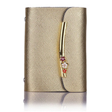 Women Genuine Leather Credit Card Holder Case Wallet ID Business Bank Card wallet Portable Female Plum blossom Floral Gold(China)