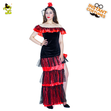 Woman's Flamenco Dancer Costume Dancing Ladies Fancy Dress Costumes For Cosplay Party
