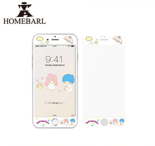 Hot Sale New Style 3D Full Cover Cartoon Image Soft Edge Tempered Glass For iPhone 6 6S Plus 7 Plus Front Screen Protector Film(China)