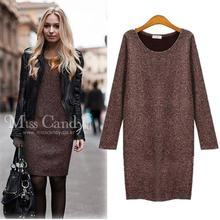 Plus Size Long Sleeve Knitted Winter Dresses Slim O-neck Package Hip Woolen Coffee Black Casual Dress Women Bodycon Dress M-5XL