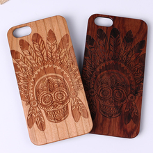 For iPhone 5 5S 6 6S 6Plus 7 7Plus SAMSUNG Galaxy S6 S7 Edge Sugar Skull Tribal Indian Mandala Laser Engraved Real Wood Case