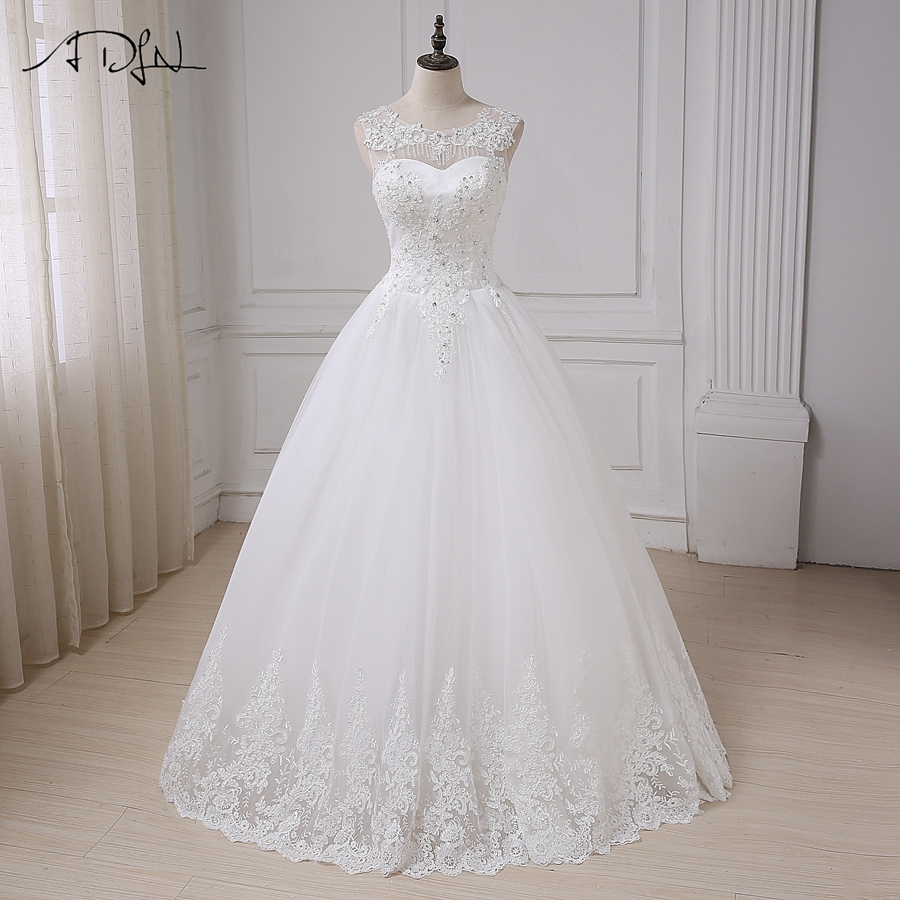 ADLN Vintage Wedding Dresses Cap Sleeve Sequins Applique Elegant Wedding Gowns Vestido De Novia Lace-up Back Custom Made 3